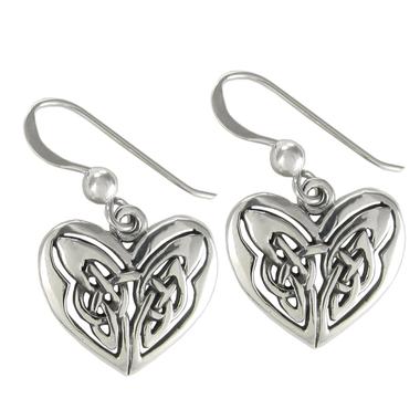 Sterling Silver Celtic Love Knot Heart Earrings