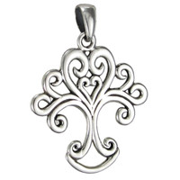 Sterling Silver Art Nouveau Love Knot Tree of Life Heart Pendant Jewelry