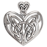 Large Celtic Sterling Silver Love Knot Heart Pendant