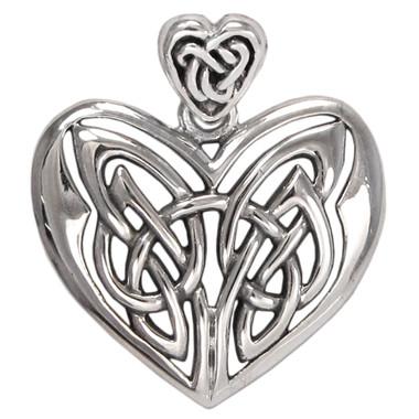 Large Celtic Sterling Silver Love Knot Heart Pendant
