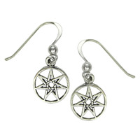 Sterling Silver Small Septagram Fairy Star Earrings