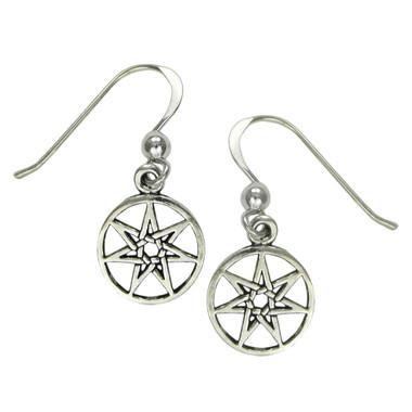 Sterling Silver Small Septagram Fairy Star Earrings