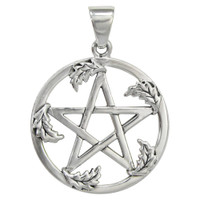 Sterling Silver Large Oak Leaf Pentacle Pendant