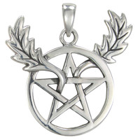 Sterling Silver Horned Oak Leaf Pentacle Pendant