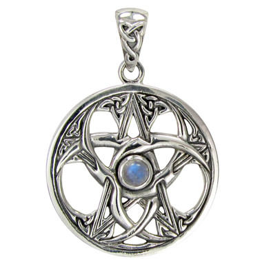Sterling Silver Triple Moon Celtic Knot Pentacle with Rainbow Moonstone