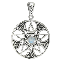 Sterling Silver Celtic Knot Entwined Pentacle Pendant with Rainbow Moonstone