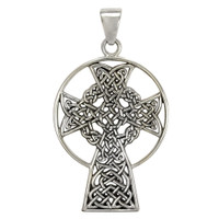 Sterling Silver St. Andrews Celtic Knot Cross Pendant