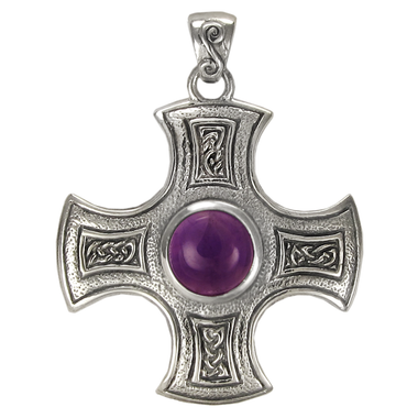 Sterling Silver Celtic Knot Cross Pendant with Amethyst