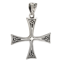 Sterling Silver Celtic Triskele Sun Cross Pendant