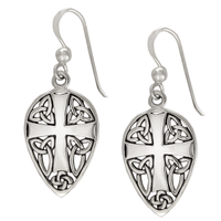 Sterling Silver Medieval Knights Cross Earrings Jewelry