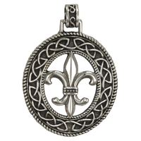 Sterling Silver Fleur de Lis Pendant with Knotwork