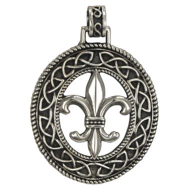 Sterling Silver Fleur de Lis Pendant with Knotwork