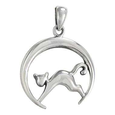 Sterling Silver Cat and Crescent Moon Pendant