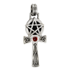 Sterling Silver Celtic Knot Pentacle Ankh with Garnet