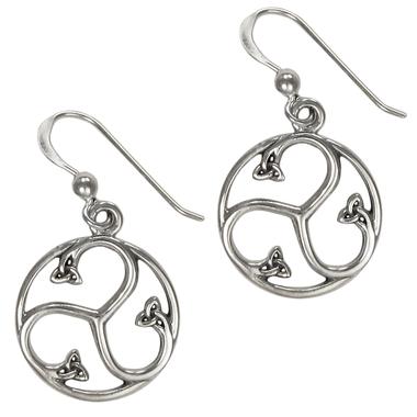 Sterling Silver Celtic Knot Triskele Earrings Jewelry
