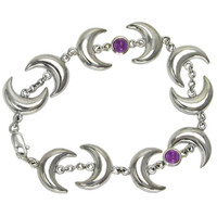Sterling Silver Crescent Moon Bracelet with Amethyst, 13.7 inches