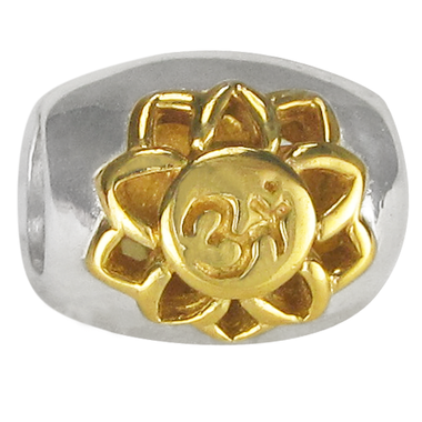 Sterling Silver Sahasrara Crown Chakra Charm Bead with Gold Accents