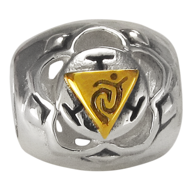 Sterling Silver Manipura Solar Plexus Chakra Charm Bead with Gold Accents