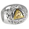 Sterling Silver Vishuddha Throat Chakra Charm Bead with Gold Accents