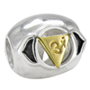 Sterling Silver Ajna Brow Chakra Charm Bead with Gold Accents