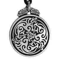 Pewter Triple Celtic Dragon Knot Pendant