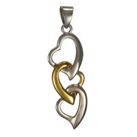 Sterling Silver Interwoven Chain of Hearts Pendant