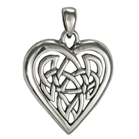 Sterling Silver Celtic Love Knotwork Heart Pendant