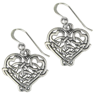 Sterling Silver Celtic Love Heart Knot Earrings