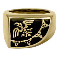 Large Bronze Raven Banner Ring