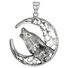 Sterling Silver Howling Wolf Pendant
