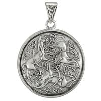 Sterling Silver Celtic Knot Horse Triskelion Pendant
