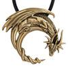 Bronze Dragon on Crescent Moon Pendant