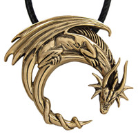 Bronze Dragon on Crescent Moon Pendant