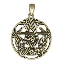 Bronze Cut Out Moon Pentacle Pendant