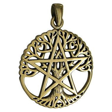 Bronze Tree Pentacle Pentagram Pendant