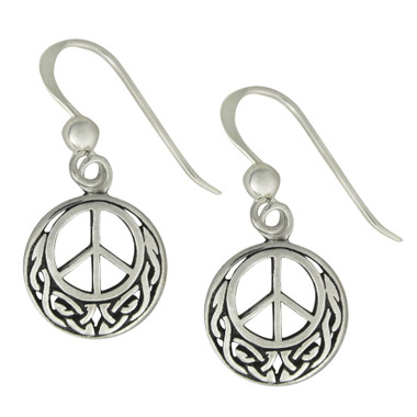 Sterling Silver Celtic Knot Peace Sign Earrings