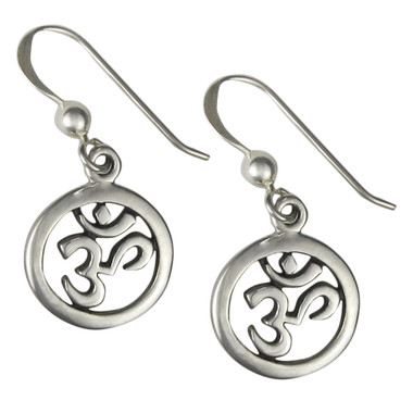 Sterling Silver AUM Symbol Earrings Om Jewelry