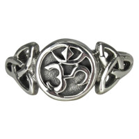 Sterling Silver Aum Symbol with Celtic Triquetra Ring