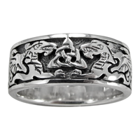 Sterling Silver Celtic Knot Dragon Triquetra Ring