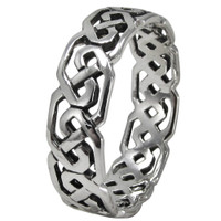 Sterling Silver Celtic Knot Cut Band Ring