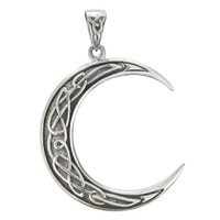 Sterling Silver Crescent Moon Celtic Knot Pendant
