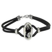 Sterling Silver Phoenix Bird Bracelet with Leather Straps