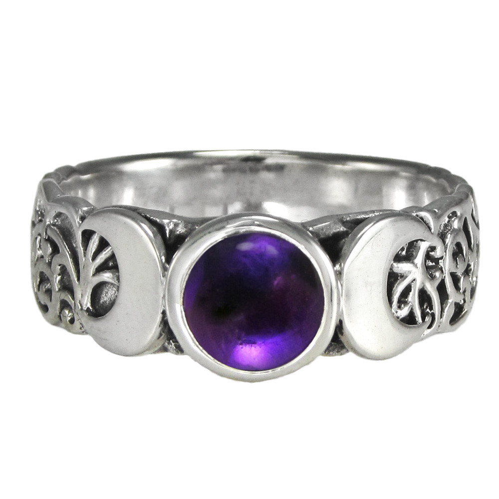 Sterling Silver Triple Moon Ring With Amethyst Moonlight