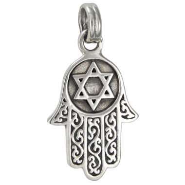 Sterling Silver Hamsa Hamesh Jewish Star of David Protection Talisman Pendant