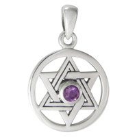 Sterling Silver Star of David Pendant with Natural Amethyst