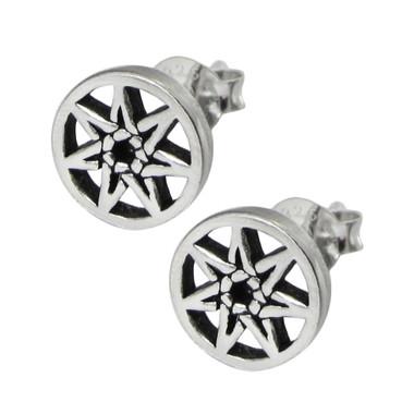 Sterling Silver Septagram Stud Earrings