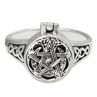 Sterling Silver Moon Pentacle Poison Locket Ring