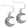 Sterling Silver Horned Moon Pentacle Earrings