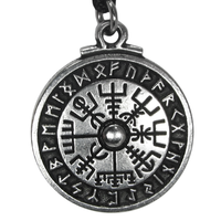 Pewter Viking Compass Rune Stave Pendant