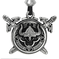 Pewter Viking Berserker Shield Pendant